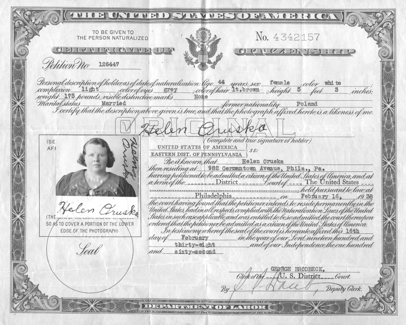 Birth death marriage baptism social security naturalization certificate helen oruska 1betcityfo Choice Image